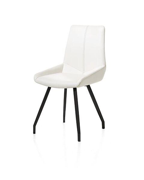 Levi, Eetkamerstoel - Zwart 4-Poots Gebogen + Catania Leder - Wit Wit